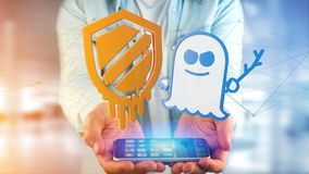 Businessman using a smartphone with a Meltdown and Spectre proce. View of a Businessman using a smartphone with a Meltdown and Spectre processor attack with Royalty Free Stock Images