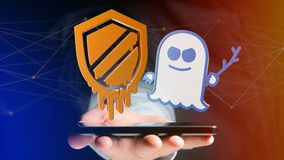 Businessman using a smartphone with a Meltdown and Spectre proce. View of a Businessman using a smartphone with a Meltdown and Spectre processor attack with Stock Photography