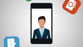 Businessman using smartphone with menu apps animation. Illustration design stock video