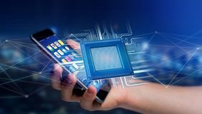Businessman using a smartphone with a Processor chip and network. View of a Businessman using a smartphone with a Processor chip and network connection - 3d Royalty Free Stock Images