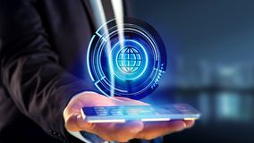 Businessman using a smartphone with a Shinny technologic globe b. View of a Businessman using a smartphone with a Shinny technologic globe button - 3d render Royalty Free Stock Image