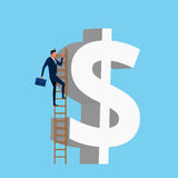 Businessman using a stairs climb to reach dollar shape building. Stair step to success. Success concept. Cartoon Vector Illustration Royalty Free Stock Photos
