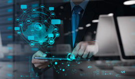 Businessman using tablet computer shows internet. Double exposure of businessman using tablet computer shows internet and social network as concept Royalty Free Stock Photos