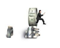 Businessman using tablet jumping through money circle Stock Image