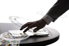 Businessman using tablet pc. Hand of the man with digital tablet, selective focus Royalty Free Stock Image