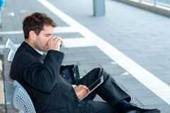 Businessman using tablet PC Stock Photography