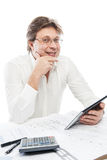 Businessman using tablet PC in office isolated Royalty Free Stock Photo
