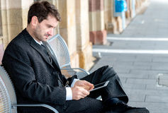 Businessman using tablet pc Royalty Free Stock Photo