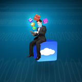 Businessman using tablet sitting on cloud app icon with tech Royalty Free Stock Photography