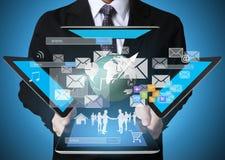 Businessman using tablet social connection Stock Photos