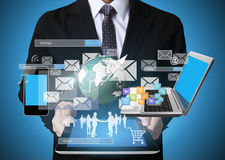Businessman using tablet social connection Stock Photo