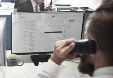 Businessman Using Telephone Corresopndence E-mail Concept Stock Images