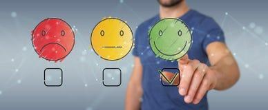 Businessman using thin line customer satisfaction rating Stock Photo