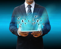 Businessman using touch pad Stock Image