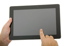 Businessman using touch pad, close up shot, isolated Stock Images