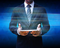 Businessman using touch pad Royalty Free Stock Photo
