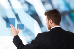 Businessman using touchscreen Royalty Free Stock Photo