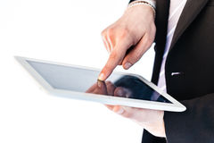 Businessman using touchscreen tablet Royalty Free Stock Photo