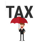 Businessman using umbrella for protecting him from tax. Stock Photos