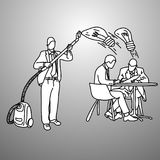 Businessman using vacuum cleaner to steal idea vector illustrati. On doodle sketch hand drawn with black lines  on gray background. Business concept Royalty Free Stock Photo