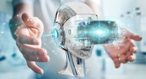 Businessman using virtual reality and artificial intelligence 3D. Businessman on blurred background using virtual reality and artificial intelligence 3D Royalty Free Stock Image