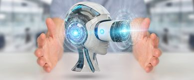 Businessman using virtual reality and artificial intelligence 3D. Businessman on blurred background using virtual reality and artificial intelligence 3D Royalty Free Stock Photos