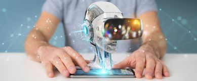 Businessman using virtual reality and artificial intelligence 3D. Businessman on blurred background using virtual reality and artificial intelligence 3D Stock Photo
