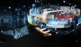 Businessman using virtual reality glasses technology 3D renderin. Businessman on blurred background using virtual reality glasses technology 3D rendering Royalty Free Stock Photos