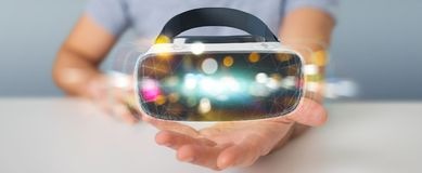 Businessman using virtual reality glasses technology 3D renderin. Businessman on blurred background using virtual reality glasses technology 3D rendering Stock Photography