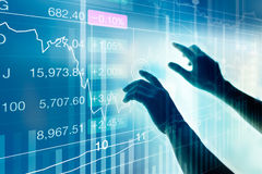 Businessman using virtual screen device to check market data, stock market concept. Businessman using virtual screen device to check market data, stock market royalty free stock image