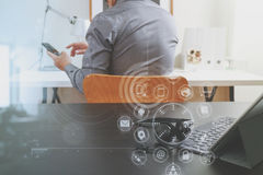 Businessman using VOIP headset with digital tablet computer and Stock Photo