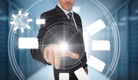 Businessman using wheel interface Stock Photo