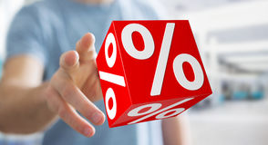 Businessman using white and red sales flying icons 3D rendering Royalty Free Stock Photo