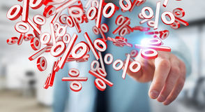 Businessman using white and red sales flying icons 3D rendering. Businessman on blurred background using white and red sales flying icons 3D rendering Royalty Free Stock Photography