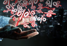 Businessman using white and red sales flying icons 3D rendering. Businessman on blurred background using white and red sales flying icons 3D rendering Stock Photos