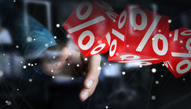 Businessman using white and red sales flying icons 3D rendering Royalty Free Stock Images