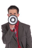 Businessman usinig megaphone Royalty Free Stock Photos