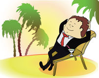 Businessman on vacation. Rich person on sea beach Royalty Free Stock Photography