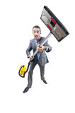 Businessman with vacuum cleaner Royalty Free Stock Photography