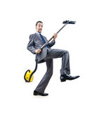Businessman with vacuum cleaner Stock Photography