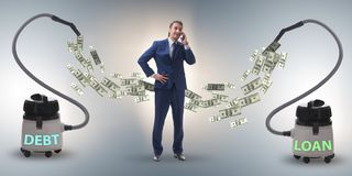 Businessman and vacuum cleaner sucking money out of him royalty free stock photography