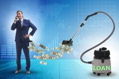 Businessman and vacuum cleaner sucking money out of him stock photos