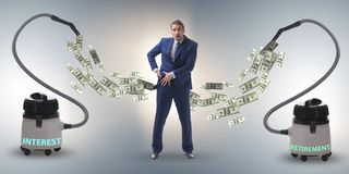 Businessman and vacuum cleaner sucking money out of him royalty free stock images