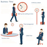 Businessman in various character with time concept. Stock Images