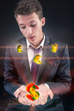 The businessman with various currencies in business concept Royalty Free Stock Image