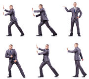The businessman in various poses isolated on white Stock Images
