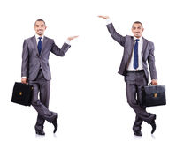 The businessman in various poses isolated on white Royalty Free Stock Photography