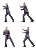 Businessman in various poses isolated on white Royalty Free Stock Images