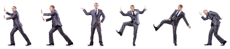 The businessman in various poses isolated on white stock image