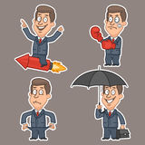 Businessman in various poses stickers Stock Photos